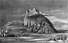 The Bisitun mountain: the cuneiform monument is just right of centre