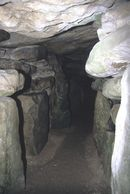 Inside the Neolithic long barrow at West Kennet, Wiltshire