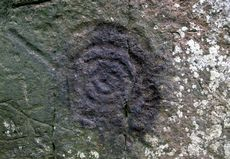 Prehistoric cup and ring marks on Long Meg standing stone, Cumbria