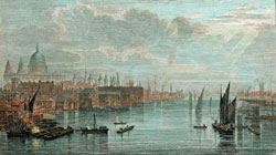 London and the busy River Thames in 1814 looking from Blackfriars Bridge towards London Bridge, with St Paul's cathedral on the left and Southwark cathedral on the right.