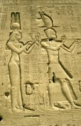 Sculptures of Cleopatra and Caesarion on the Temple at Dendera