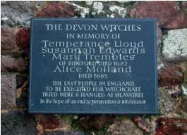 The plaque in memory of the Devon Witches, Rougemont Castle, Exeter