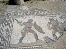 Roman mosaic from Cyprus showing gladiators fighting