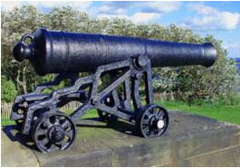 A cannon from the Royal Sovereign, now part of the Collingwood Monument