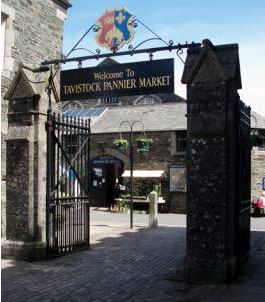 The entrance to the Pannier Market Hall  in Tavistock, Devon