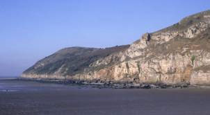 The beach at Brean Down within the Bridgwater Bay area of the Somerset coast