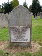 The gravestone of Thomas Whistler in the Higher Cemetery, Exeter, Devon