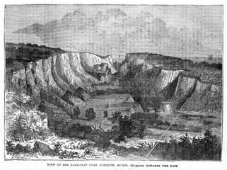 A contemporary print of the landslip at Axmouth