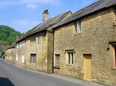 A street of hamstone cottages at Montacute
