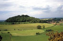 St Michael's Hill, with the village of Montacute on the right