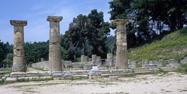 The ruins of the Temple of Hera at Olympia in Greece. Dating to the early 6th century BC, this is the earliest temple on the site.