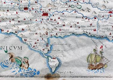 Detail from a map of the County of Dorset by William Kip, dating to the 1630s, showing Portland and Weymouth.