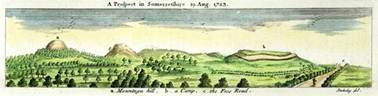 An early 18th-century print showing the sprawling mass of Ham Hill, with St Michael's Hill at Montacute on the extreme left