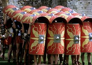 A demonstration of the testudo formation performed by the Ermine Street Guard re-enactment group