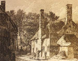 Thatched cottages at Minehead, Somerset, in about 1815