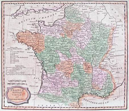 Map of France published in the early nineteenth century, drawn with north at the top