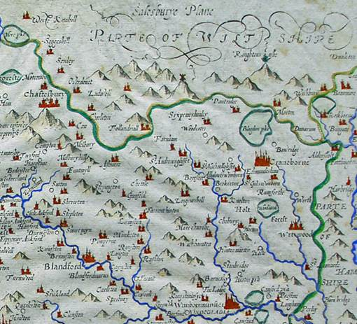Part of a 17th-century map of Dorset showing the heart of Cranborne Chase