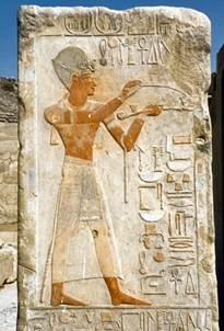 Painted relief of Tuthmosis IV at Karnak, Luxor, Egypt