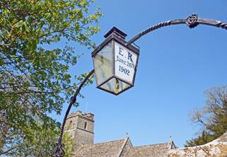 Lamp over the gateway to Babcary church in Somerset