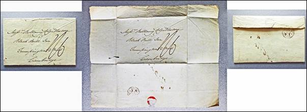 A postal wrapper postmarked 20th July 1801. Left: the front of the folded wrapper. Middle: the wrapper opened out with a surviving fragment of the seal visible. Right: the back of the folded wrapper