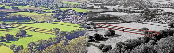 The Leper Fields, Taddiport, with the two strip fields. In the black-and-white view (right), they are outlined in red