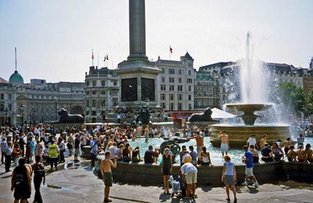 Trafalgar Square on a hot summer's day