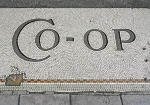 Mosaic entrance to a Co-op at Bradford on Avon