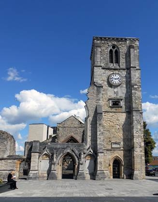 The ruins of Holy Rood Church, Southampton