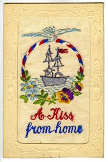An embroidered silk postcard with embossed frame