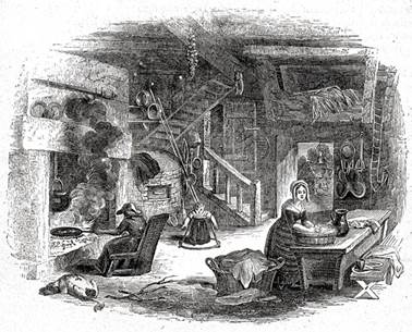 A 19th-century print of the interior of a 16th-century cottage, with a fireplace and an oven on the left and a staircase leading to an upper floor