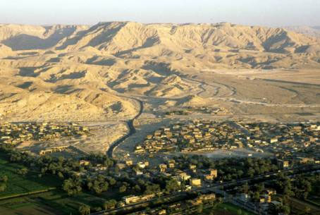 Luxor, looking towards the Valley of the Kings, from a balloon.