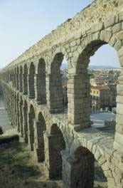 Roman bridge and aqueduct at Segovia, Spain