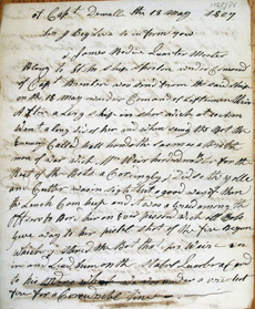 A letter written by James Bodie of HMS Spartan describing how he was captured in a boat action in 1807.