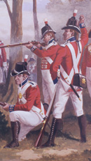Royal Marine privates around 1802-10 wearing red coats, white cross-belts, white breeches, gaiters and round hats with a feather plume