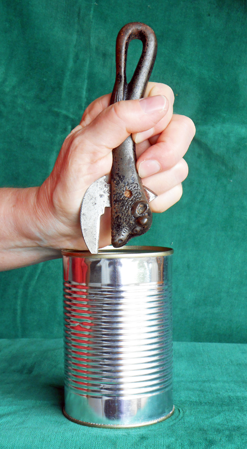 Preparing to open a can