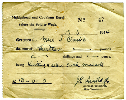 Receipt for WW2 knitting